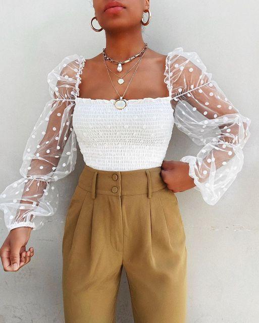 Women Mesh Sheer Blouse Chiffon See-through Long Sleeve Top Shirt Blouse Fashion Organza Transparent White Shirt Female Blusas 4
