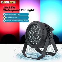 Luz LED de 18x18W Par a prueba de agua RGBWA + UV 6 en 1, luz de Dj, efecto de Control DMX para fiesta, KTV, escenario, espectáculo, luces de Fiesta Disco al aire libre