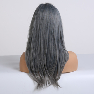 Image 3 - EASIHAIR Blue Ombre Straight Bob Wigs with Bangs Medium Length Synthetic Wigs for Women Heat Resistant Cosplay Wigs Fake Hair