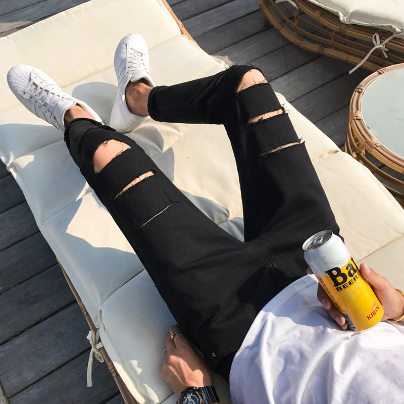 2019 With Holes Jeans MEN'S Black Skinny Slim Fit Thin Capri Summer Students Korean-style Trend Versatile Ripped Jeans