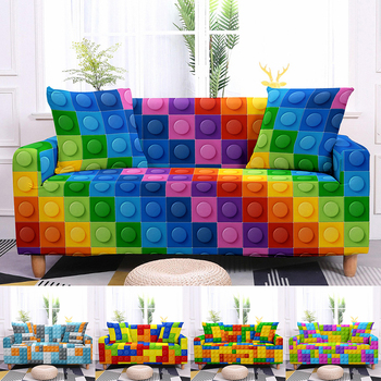 Colorful Block Pattern Elastic Slipcovers Sofa Universal Sofa Cover Stretch Sectional Couch Cover Sofa Cover For Living Room 1