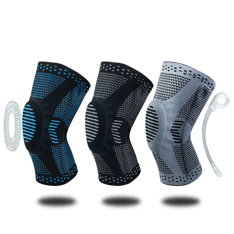 1pcs Weaving Silicone Knee Sleeve Pads Supports Brace Volleyball Basketball Meniscus Patella Protectors Sports Safety Kneepads