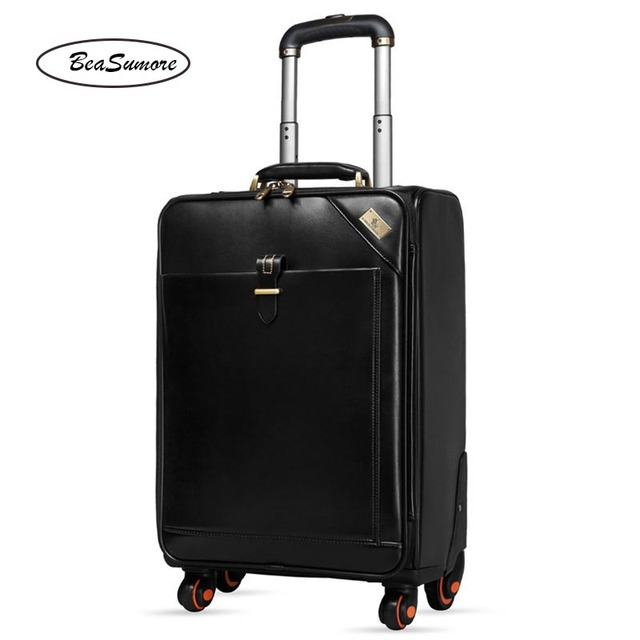BeaSumore Men Genuine Leather Rolling Luggage Spinner Retro Cowhide Wheel Suitcases 16 inch Cabin Business Trolley
