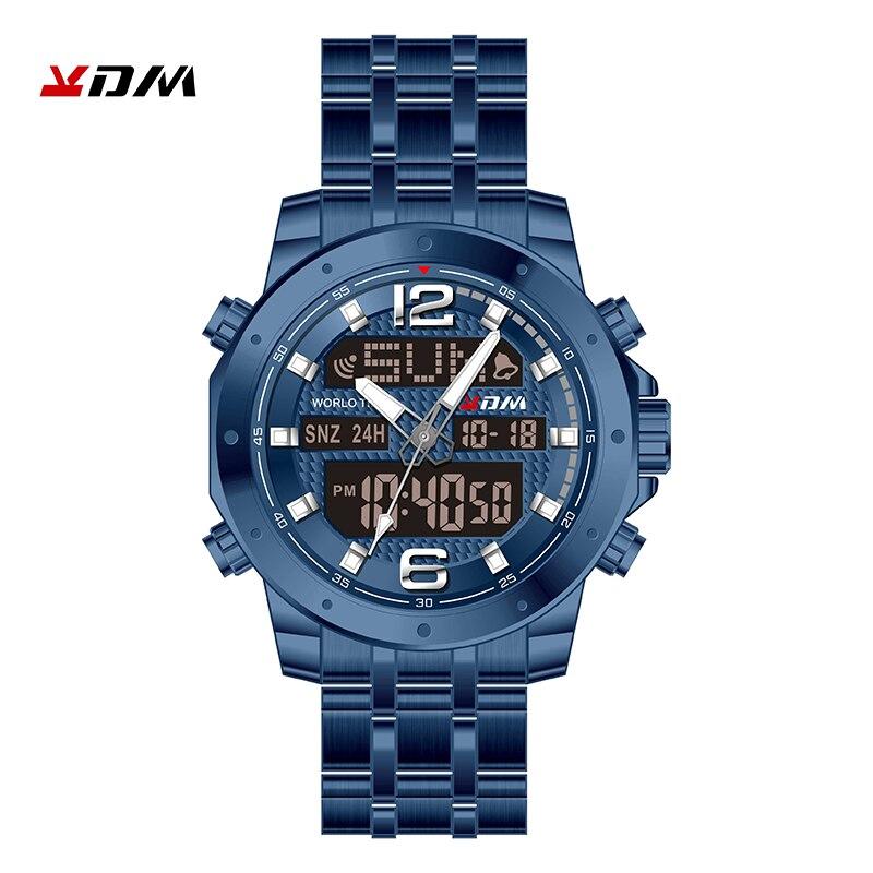 Kol Saati часы для мужчин двойной дисплей reloj hombre кварцевые цифровые Relogio Masculino Нержавеющая сталь ремешок Сплав спортивный Montre Homme - 5