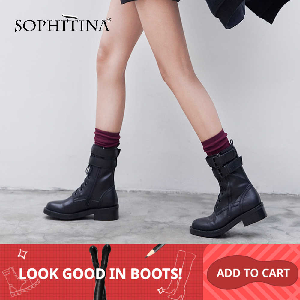 SOPHITINA takım çizmeler rahat kadın kare topuk yüksek kaliteli inek deri moda serin ayakkabı yuvarlak ayak yarım çizmeler MO302