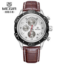 Fashion MEGIR Luxury Brand Men Waterproof Military Sports Watches Men's Quartz Analog Leather Wrist Watch new luxury fashion faux leather men blue ray glass quartz analog watches casual cool watch brand men watches 2016 1122