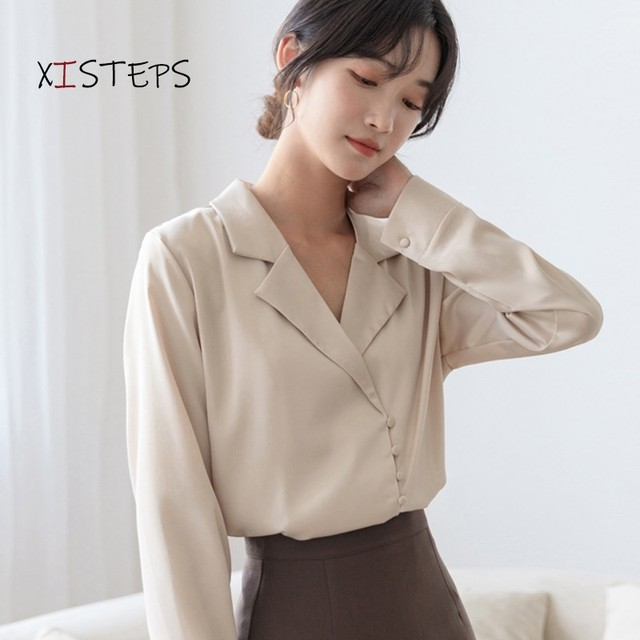 V-neck Chiffon Shirts Women 2021 Spring Pure White Blouses Long Sleeve Professional Female Office Work Wear Tops Chiffon Clothes 3