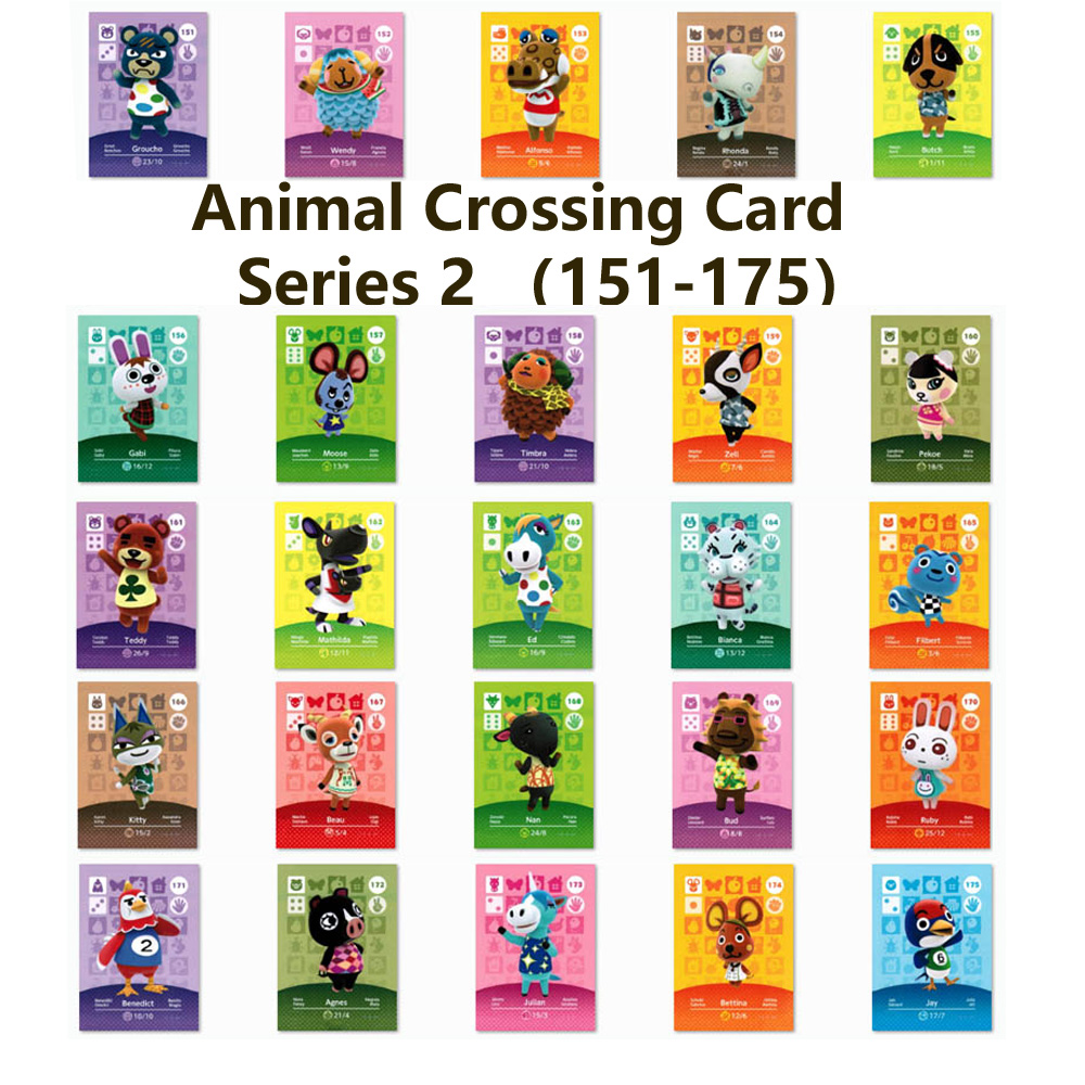 Series 2 (151 To 175) Animal Crossing Card Amiibo Locks Nfc Card Work For NS Games Series 2 (151 To 175 )