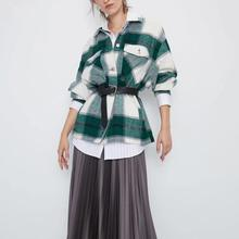 ZA autumn winter Women's plaid woolen shirt Plus tweed thick coat Warm Outwear V