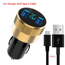 3.1A LED Display Dual USB Charger Mobil Universal Cepat Pengisian Mobil-Charger TYPE C Kabel MICRO UNTUK Samsung Xiaomi huawei(China)