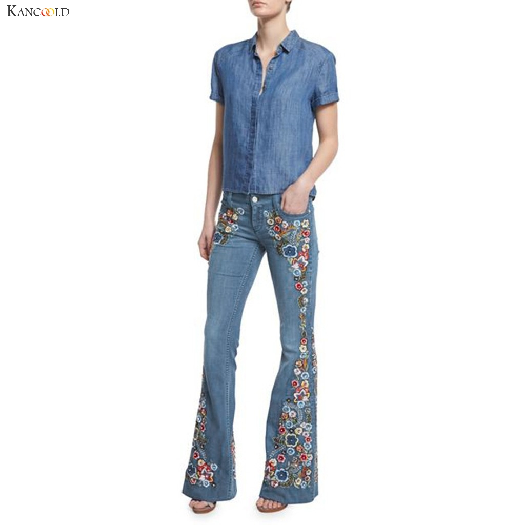 KANCOOLD Pants Women Embroidery Destoryed Flare Jeans Button Waist Bell Bottom Denim Pants Fashion New Jeans Woman 2019Oct31