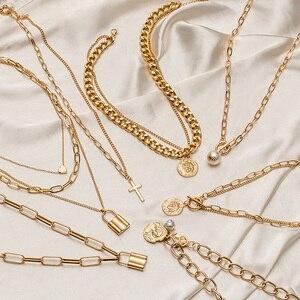 Женское многослойное ожерелье-чокер, винтажное ожерелье золотого цвета с монетницей, массивное Ювелирное Украшение, 2021