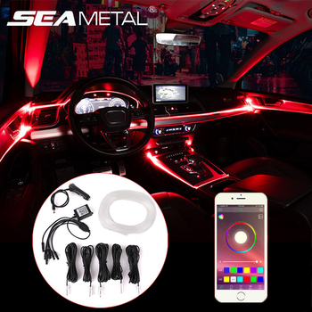 RGB Ambient Light Car Interior Atmosphere Strip Fiber Optic Strip Light Multicolor APP Sound Control Car Ambient Decorative Lamp car 12v led app foot lamp 9smd ambient light voice control music lamp phone control lamp 5050 9 x 4 smd car neon light car