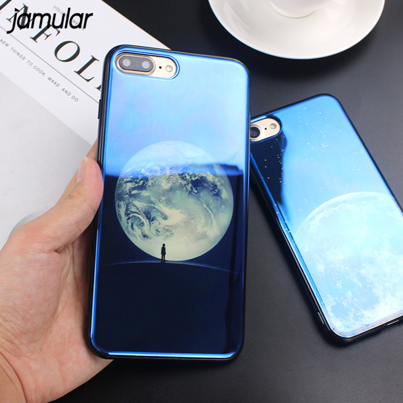 JAMULAR Electroplate Blue Light Soft Soft Cover for iPhone X XS MAX XR Moon Planet Space Silikonetui til iPhone 7 8 6 6s Plus