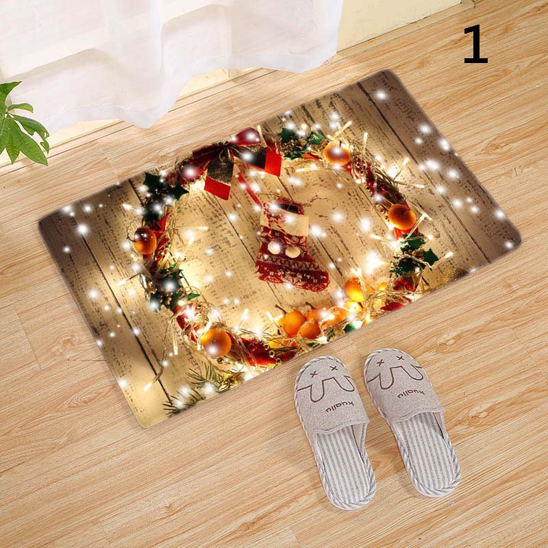 Merry Christmas Door Mat Flannel Floor Carpet Christmas Decor For Home Xmas Party New Year JAN88