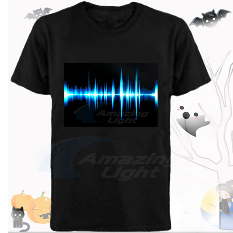 Party LED light up el panel t shirt  Music rhythm sound activated flashing el panel t shirt|Car Stickers| |  - title=