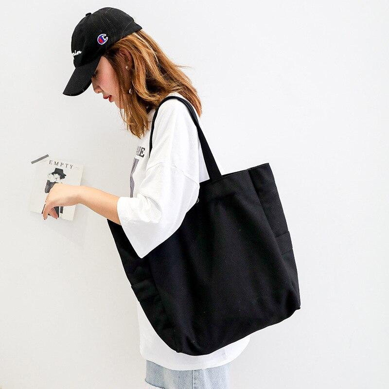 2019 Casual Shopping Bag Women Leisure Large Capacity Tote Canvas Shoulder Bag Shopping Bag Fashion New Beach Bags Feminina