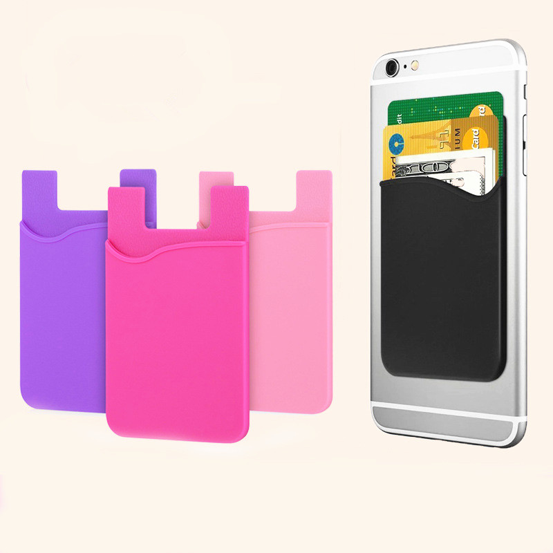 Double Pocket Elastic Stretch Silicone Cell Phone ID Credit Card Holder Sticker Universal Wallet Case Card Holder