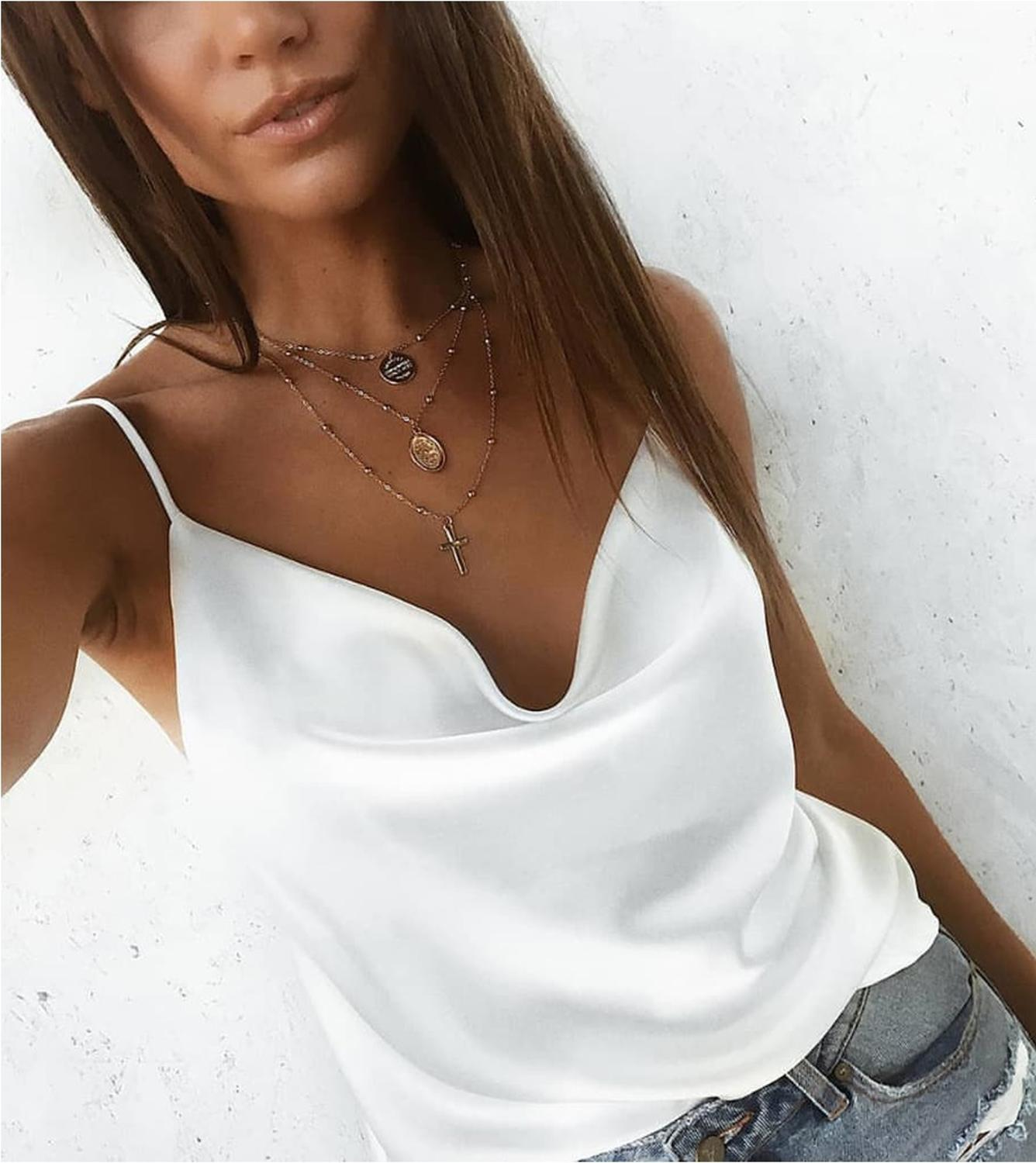 Fashion New Women Girl Silk Satin Camis Plain Sleeveless Strappy Camisole Vest Tank Top Tee Summer Costume Casual Ladies Clothes in T Shirts from Women 39 s Clothing