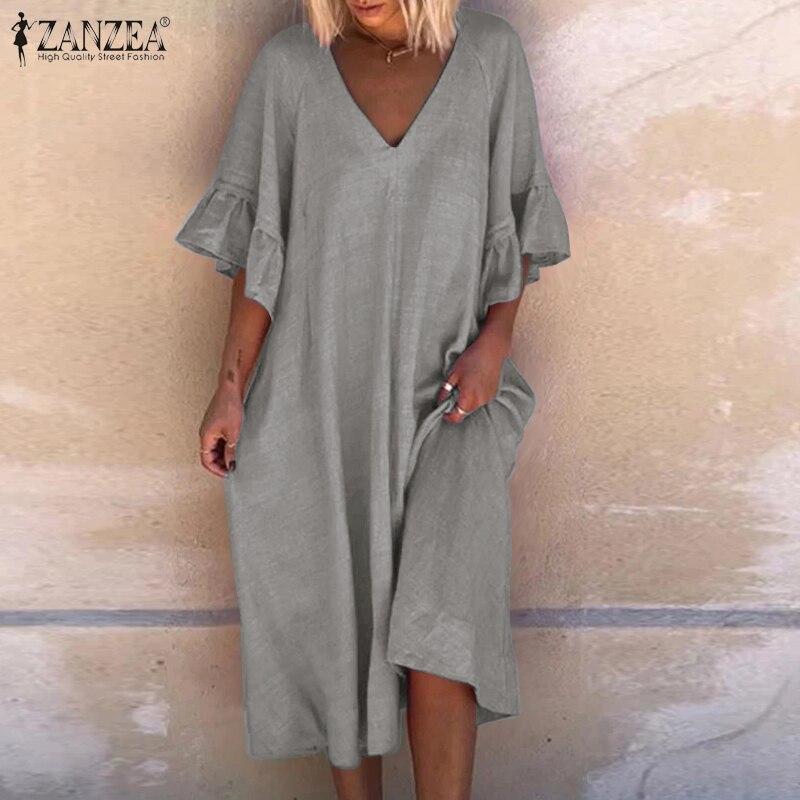Vestido feminino zanzea verão sólido boêmio babados manga curta midi vestido de verão casual solto com decote em v vestidos de férias robe femme 5xl