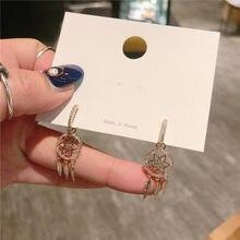 Anel de cobre coreano versão da rede de pesca flores frescas e simples selvagem pequenos brincos longos earrin