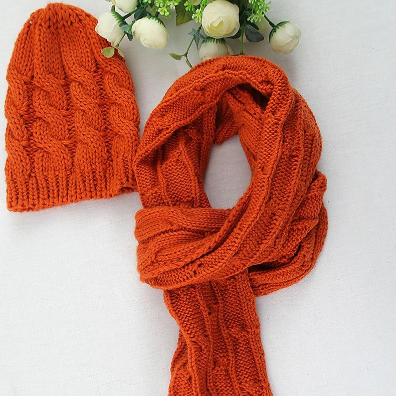 Hat Wholesale CHILDREN'S Scarf Neck Guard Earmuff Hat Korean-style Knit Line Hat Scarf Piece Set
