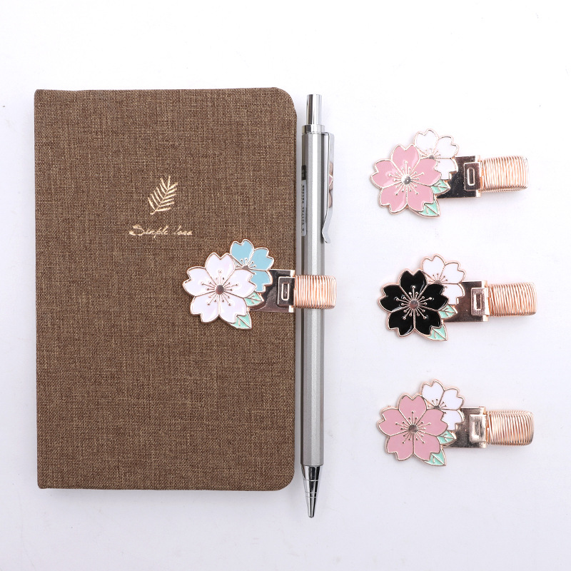Fortune Stationery Metal Clip Portable Laptop Decoration Bookmark Single Bore Verticle Stainless Steel Hand Account Pen