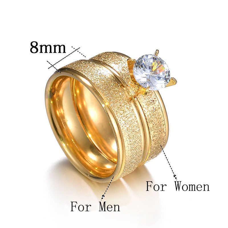 Novo luxo zircon anéis de aço inoxidável para mulheres homens anéis de casamento simples anel de ouro jóias senhoras anel de noivado presentes femininos