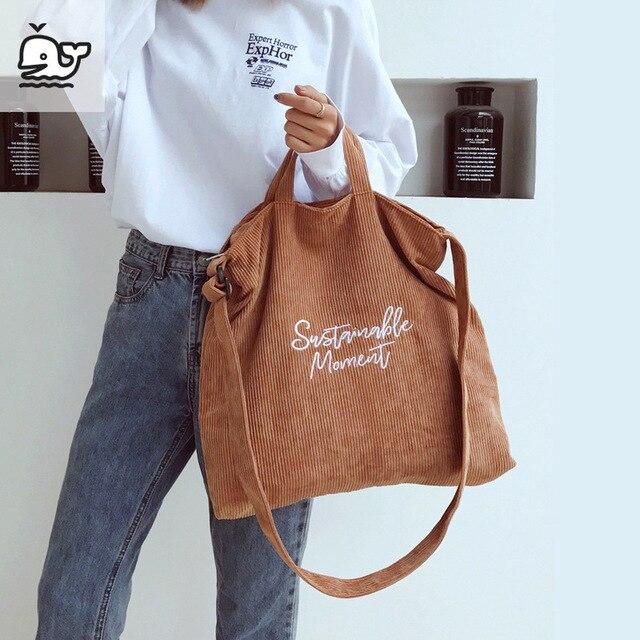 Women Corduroy Shoulder & Crossbody Bags Female Eco Cloth Handbag Large Capacity Zipper Totes Soft Embroidery Messenger Bag 3