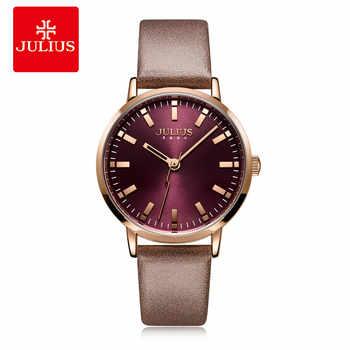 JULIUS frauen Uhr Büro Dame Business Uhr Leder Band Lila Quarz Armbanduhr 30 m Wasserdicht Modus Montre JA-1149