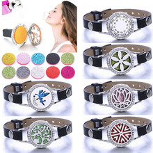 Flower Fairy Aromatherapy Bracelet Stainless Steel perfume Essential Oil Aroma Diffuser Lockets Genuine leather women