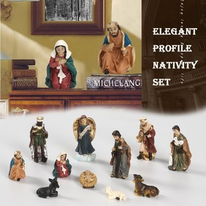 Christmas Home Decoration Holiday Gift Elegant Profile Nativity Set Includes Holy Family Resin Decorative Figures Toys for Gift