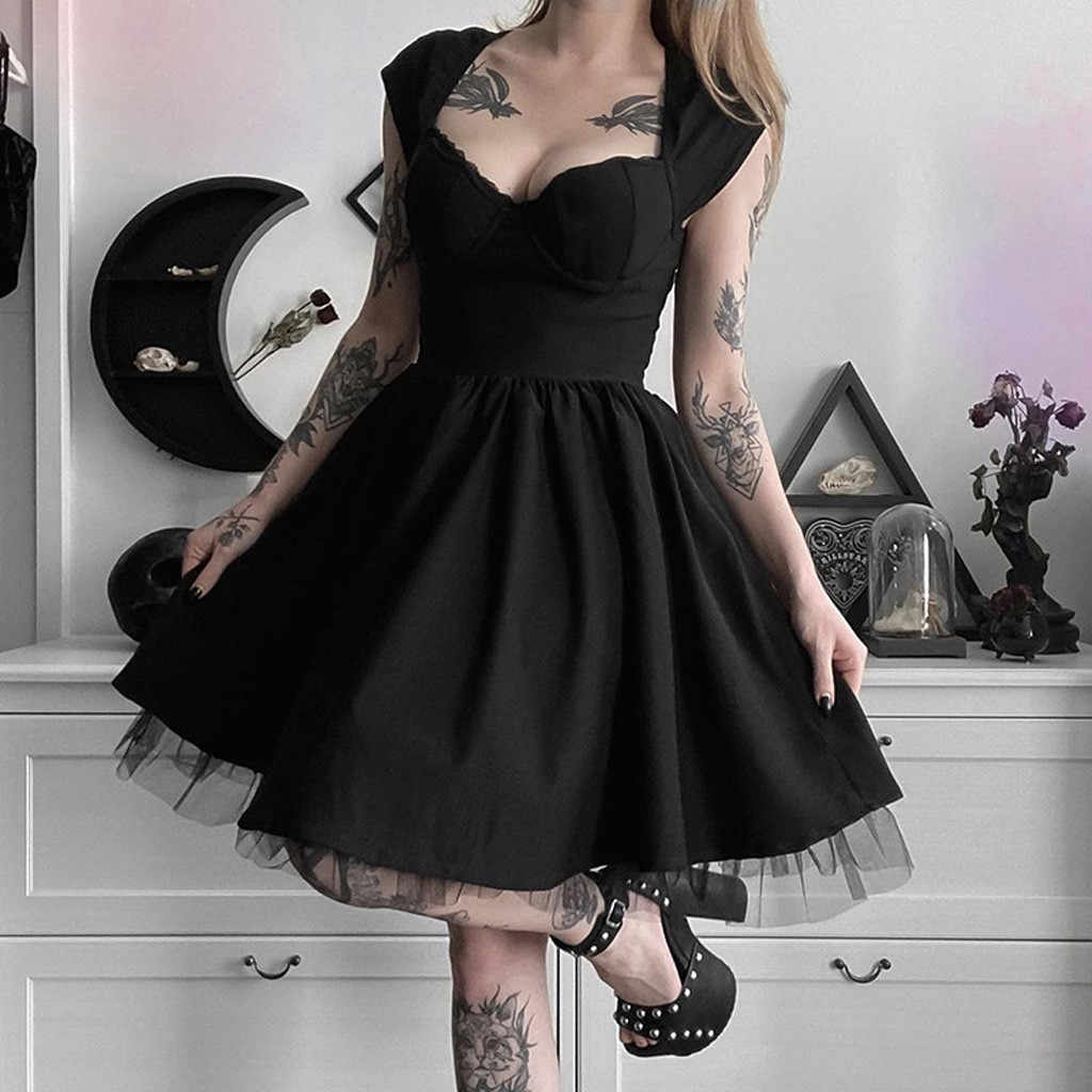 KANCOOLD elbise kadınlar Funk gotik v yaka katı kolsuz dantel örgü Patchwork elbise parti yaz moda yeni elbise kadınlar 20530