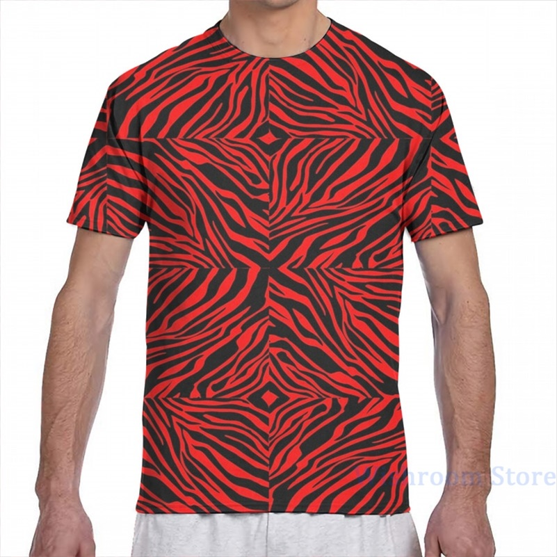 T-Shirt Boy Tops Short-Sleeve Square All-Over-Print Fashion Tees Zebra Girl Red Women