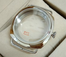 45ミリメートルサファイアクリスタルポリッシュステンレスケースフィット6497 6498運動高品質な時計ケース卸売010a