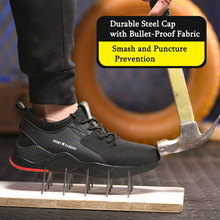 SITAILE Lightweight Breathable Men Steel Toe Safety Shoes Work For Anti-smashing Construction Sneaker
