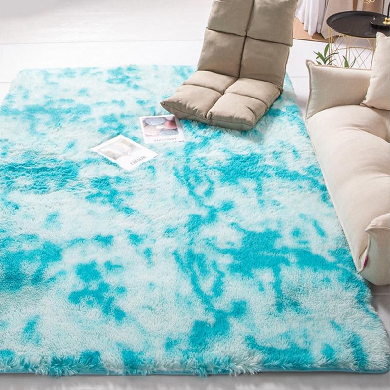 Современный ковер в скандинавском стиле с градиентом, ковер для спальни, гостиной, прямоугольный ковер, пестрый мягкий удобный ковер серого цвета - Цвет: Синий