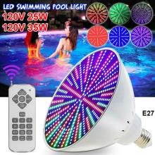 Garden Swimming Pool Light Bulb with Remote Control 1000LM 120V IP68 Waterproof Color Changing Light Bulb Underwater Night Lamp