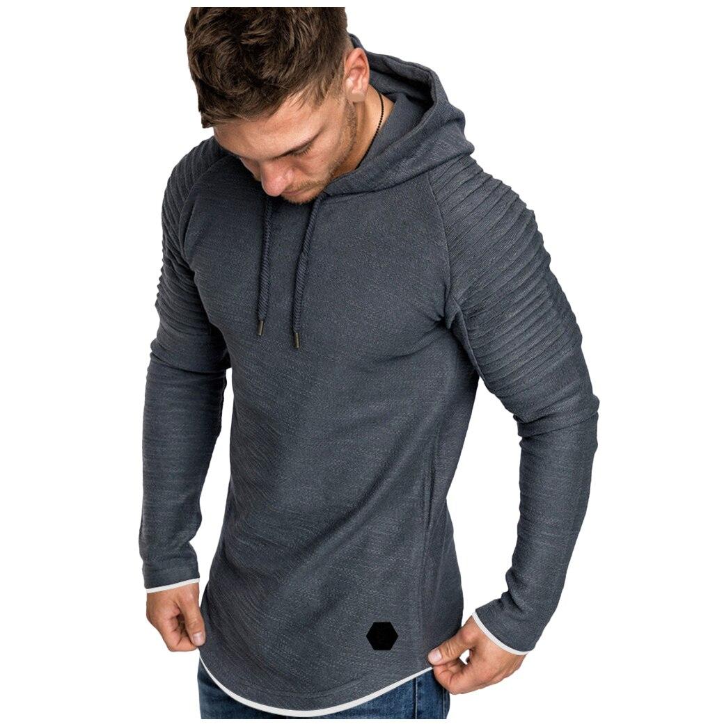H0bd72011c6c14200ad041f55ec0f4786g Men Hoodies Sweatshirts 2019 Autumn Pleats Slim Fit Raglan Long Sleeve Hoodie Tops Men Solid Hoodie Pullover Men Outerwear Tops