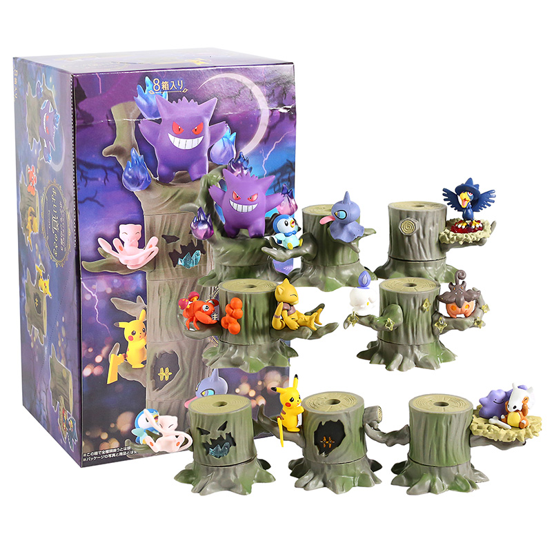 Monster Forest 2 Vol.3 Gengar Mew Ditto Cubone Litwick Pumpkaboo Paras Abra Piplup Shuppet Murkrow PVC Figures Toys 8pcs/set