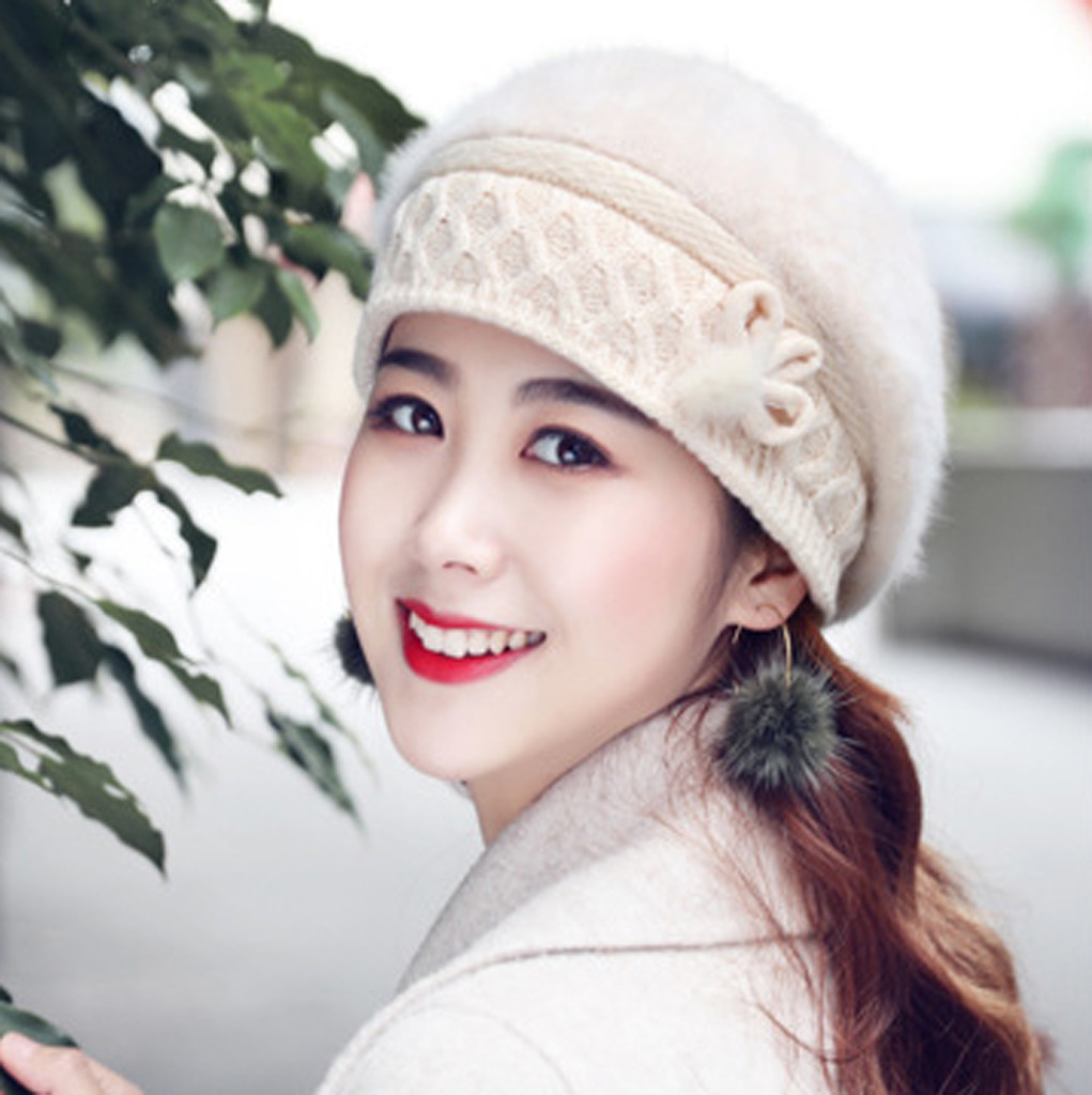 Fashion Winter Knitted Berets Hat For Women High Quality Baggy Hedging Cap Female New Simple Wool Fur Warm Cap