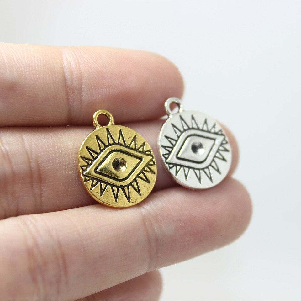 """Ägyptische Metall Vergoldet Reifen Lang Münze Ohrringe 3.25 /"""" Blau Auge Perlen"""