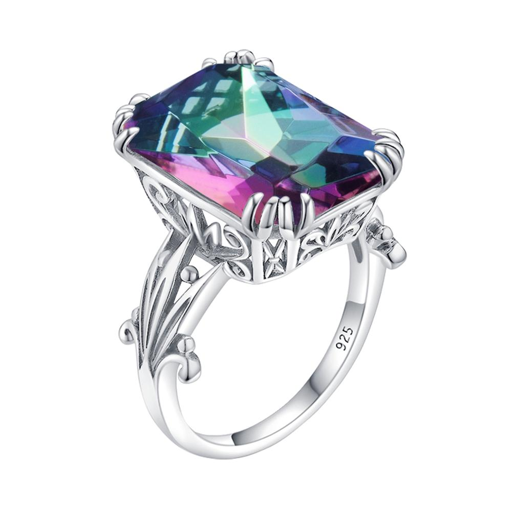 Szjinao Gemstone Ring For Women Rainbow Mystic Topaz 925 Sterling Silver Rings Boho Square Shape Engagement Engagement jewellery