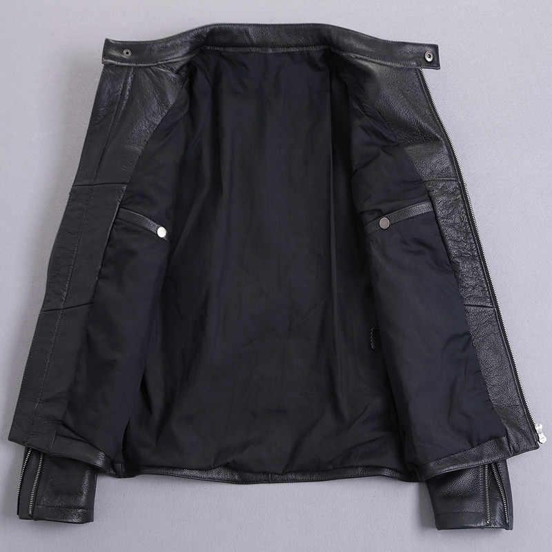 100% Natuurlijke Geit Huid Leren Jas Mannen Lente Herfst Korte Slanke Moto Bomber Jassen Casacas De Cuero MF032