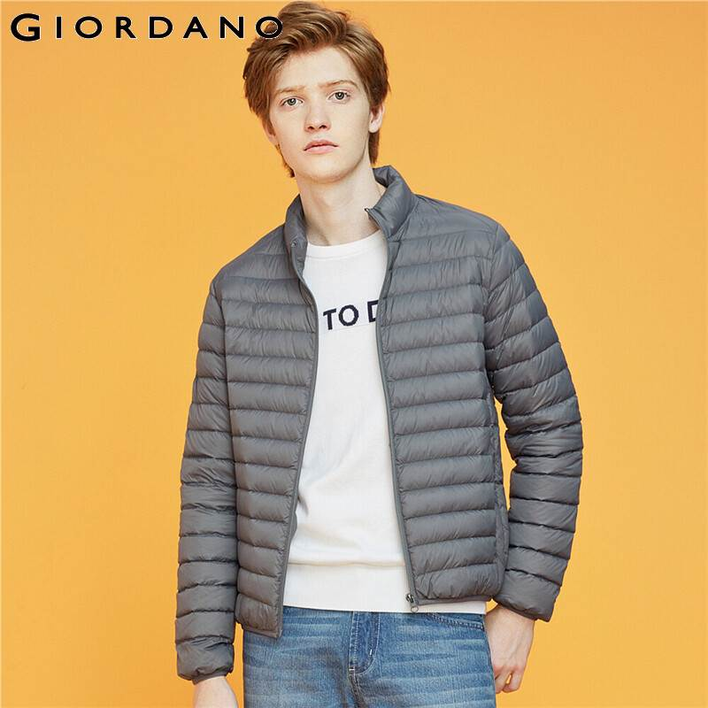 Giordano Men Down Jackets 90% White Duck Solid Down Jackets Stand Collar Light Warm Casual Casaco Masculino 01079653
