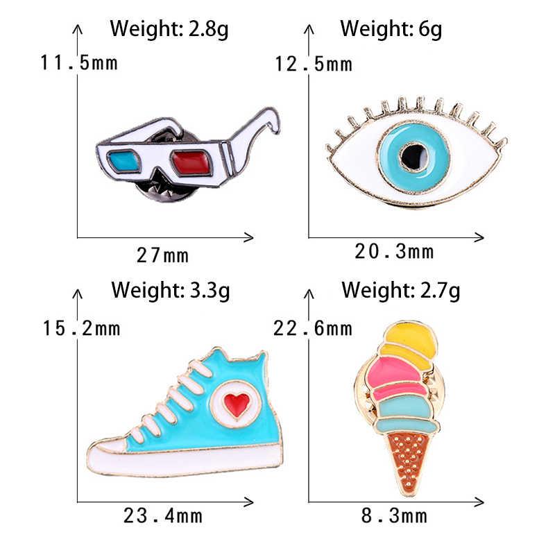 Hip-hop göz ayakkabı broş komik dondurma emaye Pin rozeti Denim pimleri kadınlar için broşlar erkekler yaka Pin çantası yüksek kalite takı