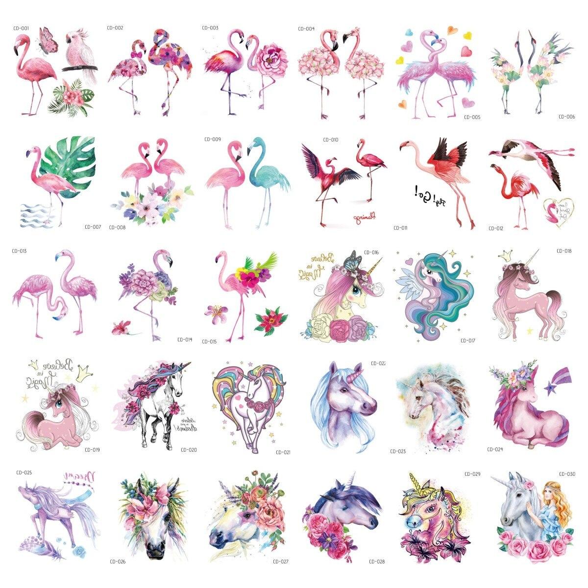 Cartoon Unicorn Flamingo Temporary Tattoo Stickers For Kid Colorful Cute Fake Taty Children Body Art Waterproof Tattoos Sticker