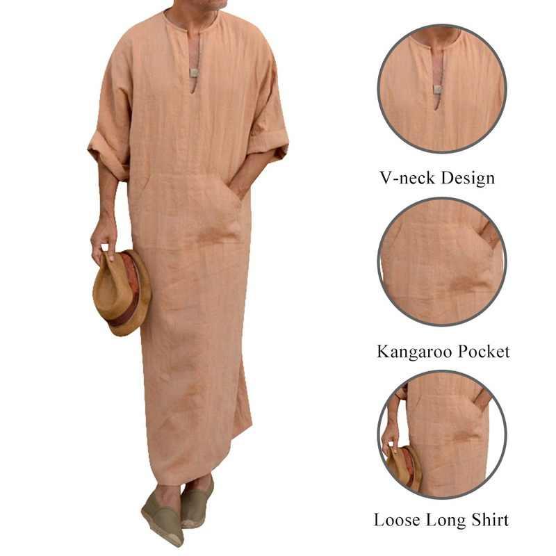 CYSINCOS 2019 Men Muslim Islamic Arab Kaftan Robes Short Sleeve Cotton Kaftan Jubba Thobe Vintage Dubai Saudi Arabia Thobes