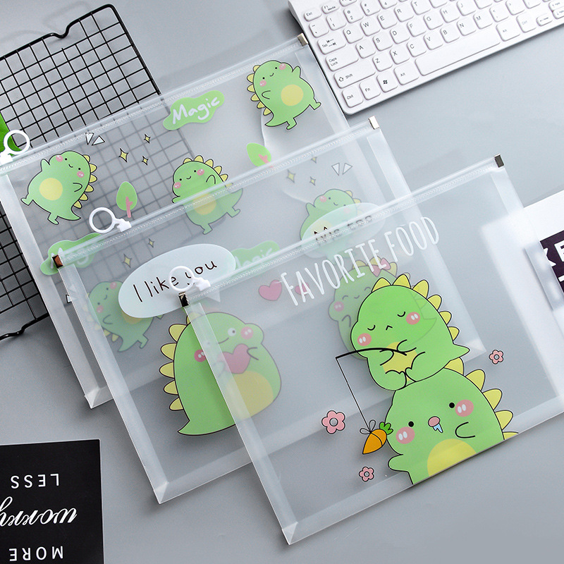 Cartoon Dinosaur Planet File Holder Transparent Portable Zipper Document Bag Korean Stationery Gift Office School Supplies
