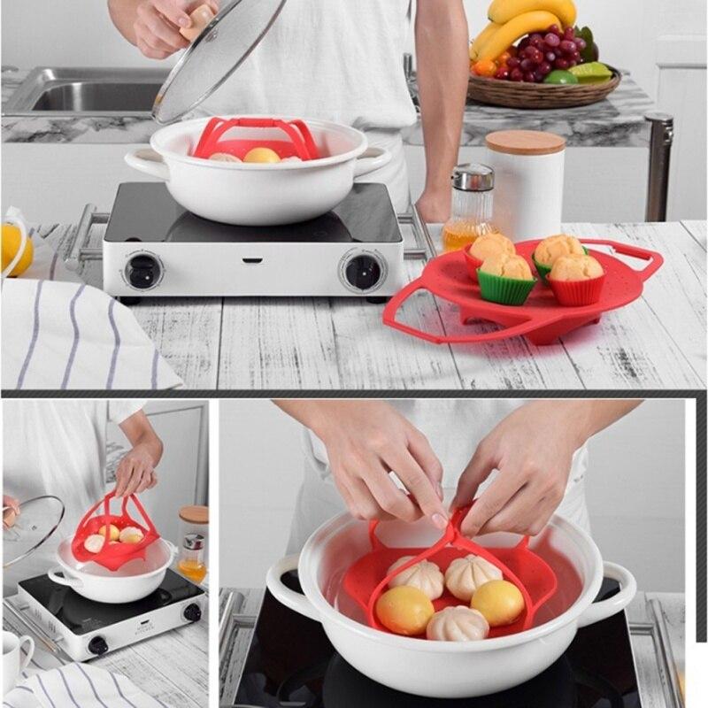 Versatile Silicone Steamer Shelf Cookware Durable Steamer Rack Food Holder Kitchen Accessories Telescopic Pot Steam Tray Stand